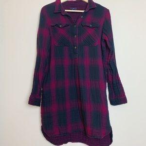 Maroon/Black Flannel Shirt Dress M